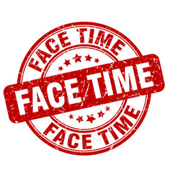 Face time red grunge stamp vector