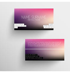 Modern business card template with blurred vector image