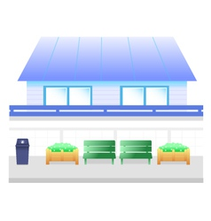 Blue house cartoon vector