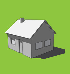 3d image - grayscale simple isolated house vector