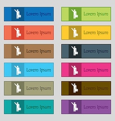 Tourist icon sign set of twelve rectangular vector