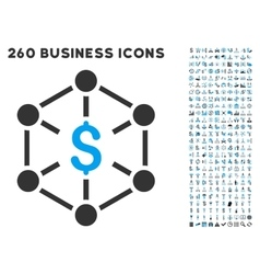 Financial network icon with flat set vector