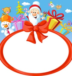 Christmas bow frame wit santa claus and gifts- vector
