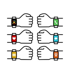 Smart watch set with people hands and app icons vector image