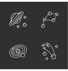 Four stylish space icons vector