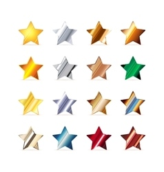 Many stars made of different metals on white vector image