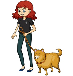 A smiling girl and a dog vector image vector image