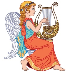 Angel playing lyre vector