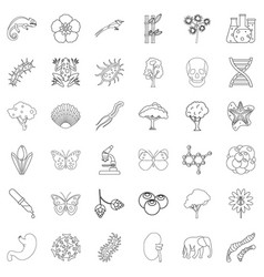 biology icons set outline style vector image