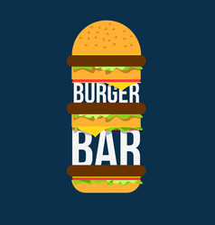 Burger bar print design for cafe vector