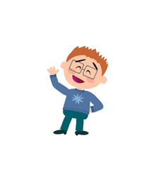 Cartoon character boy with glasses greeting vector