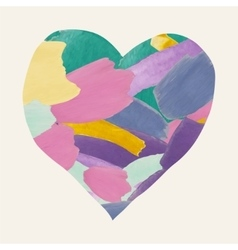 Colorful watercolor heart shape from brushes vector