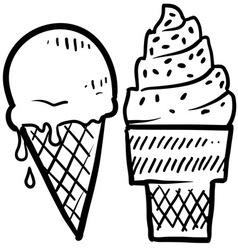 doodle ice cream cone vector image vector image