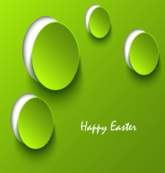 Easter card with green eggs cutouts template vector