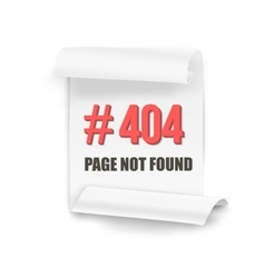 Error 404 Folded Paper Banner Page Not vector image