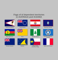 Flags dependent territories australia and oceania vector