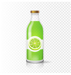 fresh lime juice in bottle with juice label vector image