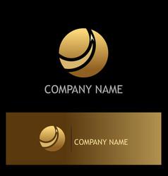 gold sphere arrow business logo vector image