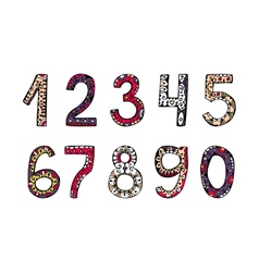Hand drawn ornamental numbers vector