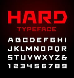 Hard font alphabet with latin letters and numbers vector