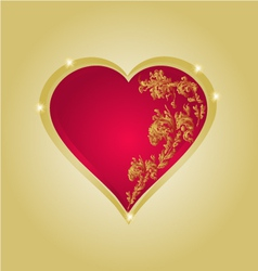 Heart with gold ornaments vintage vector image vector image
