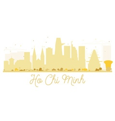 Ho chi minh city skyline golden silhouette vector