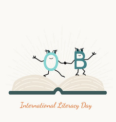 International literacy day with letter characters vector