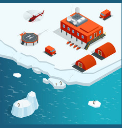 Isometric antarctica station or polar station with vector