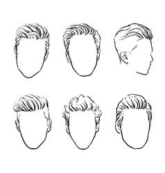 man hair Hand drawn hipster fashion beard vector image