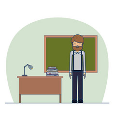 man teacher on classroom with desk with books and vector image vector image