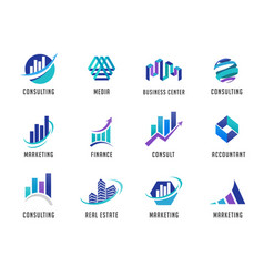 Marketing finance sales and business logos vector