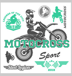 Motocross rider badge logo emblem vector