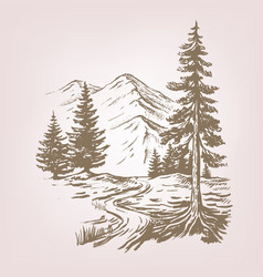 Mountain landscape with cabin vector