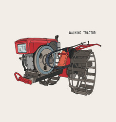 Plows machine - walking tractor hand draw sketch vector