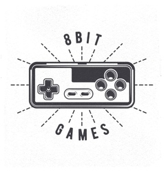 Retro 8 bit video game joystick vector