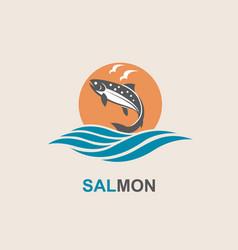 Salmon fish icon vector