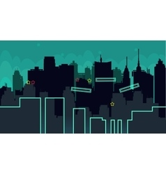 Seamless cartoon night city landscape vector image
