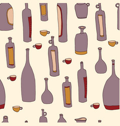 Wine bottles seamless pattern vector