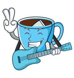 With guitar tea cup mascot cartoon vector