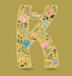 yellow letter k with floral decor and necklace vector image vector image