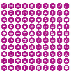 100 autumn holidays icons hexagon violet vector