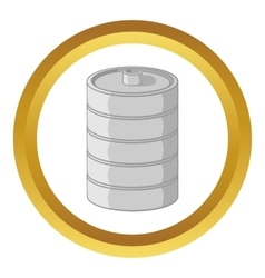 Aluminum barrel for beer icon vector
