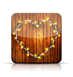 App icon a heart garland on wooden background vector