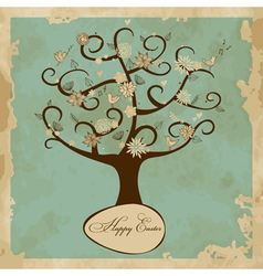 Card with easter tree vector