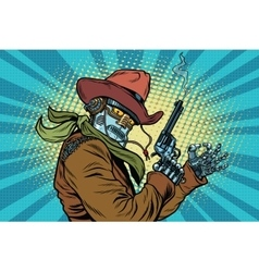 Robot cowboy wild west ok gesture vector