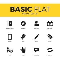 Basic set of social icons vector