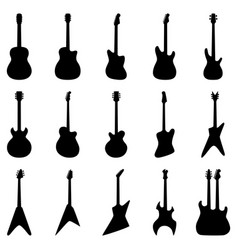 Set of silhouettes of acoustic guitars electric vector