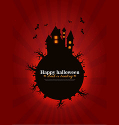 Castle and moon halloween background vector