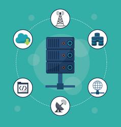 Aquamarine background with server icon in closeup vector