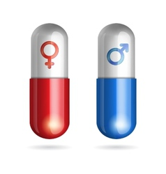 Blue and red pills with male female symbols vector